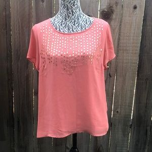 Forever 21 Jeweled Orange Blouse - Loose Fit